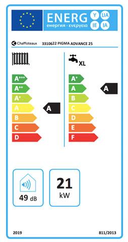 etiqueta de eficiencia energetica caldera chaffoteaux pigma advance 25
