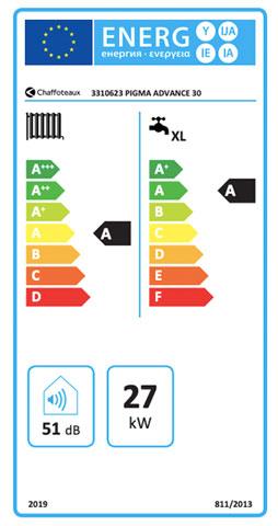 etiqueta de eficiencia energetica caldera chaffoteaux pigma advance 30