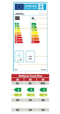 etiqueta de eficiencia energetica caldera biasi rinnova condens plus 25 s