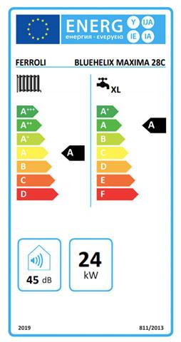 etiqueta de eficiencia energetica caldera ferroli bluehelix maxima 28 c