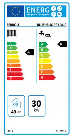 etiqueta de eficiencia energetica caldera ferroli bluehelix tech rrt 34 c