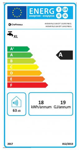etiqueta de eficiencia energetica calentador chaffoteaux avenir plus lnx 16sft eu