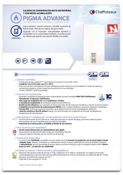 folleto caldera chaffoteaux pigma advance 30