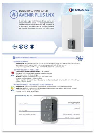 folleto calentador chaffoteaux avenir plus lnx 16sft eu