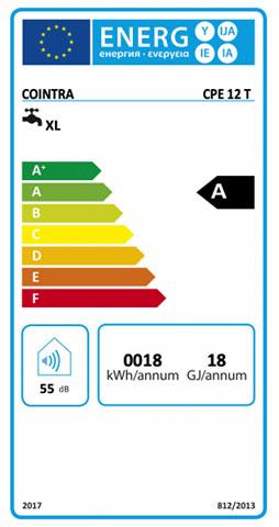 etiqueta de eficiencia energetica calentador cointra premium cpe 12 t
