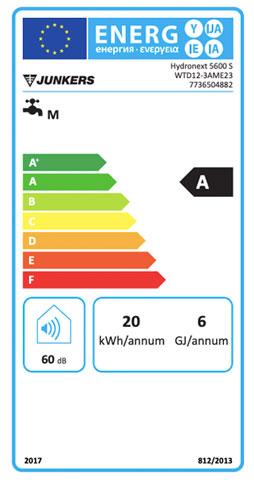 etiqueta de eficiencia energetica calentador junkers hydronext 5600 s wtd 12-3 ame