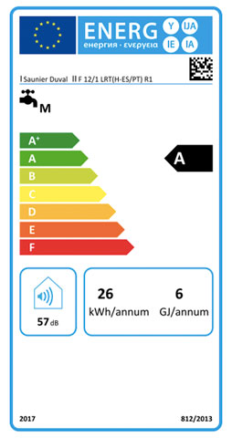 etiqueta de eficiencia energetica calentador saunier duval opaliatherm f 12/1