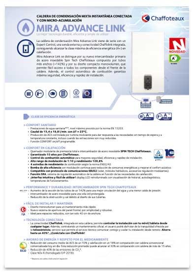 folleto caldera chaffoteaux mira advance link 30