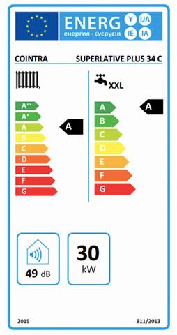 etiqueta de eficiencia energetica caldera cointra superlative plus 34 c